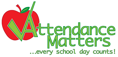 Red apple, green tick and the words Attendance Matters...every school day counts!